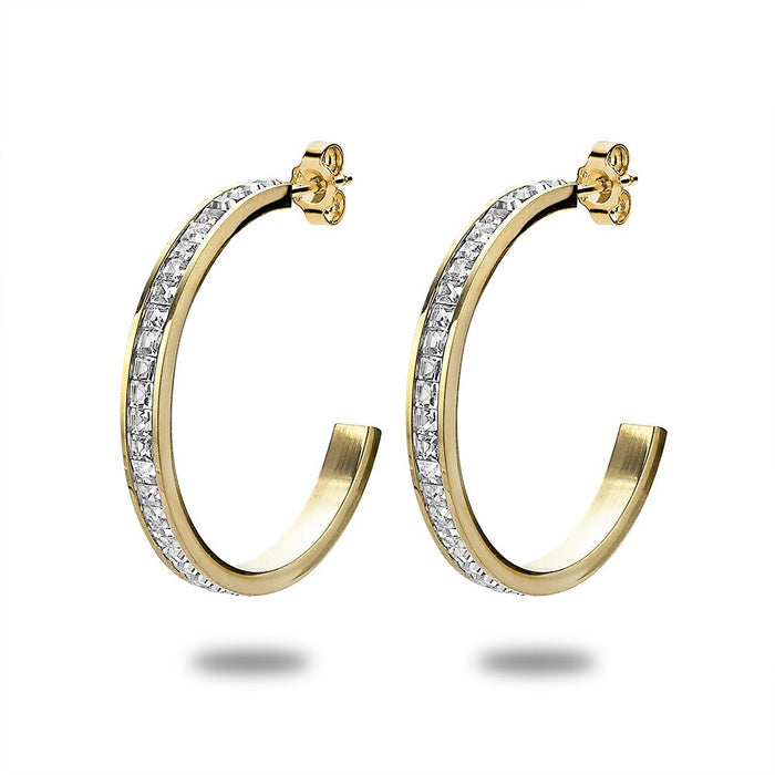 Gold Crystal Hoops
