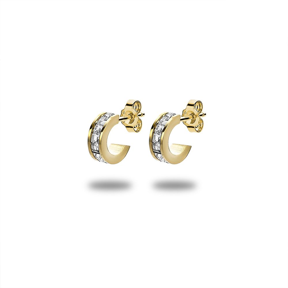Gold Tiny Crystal Hoops