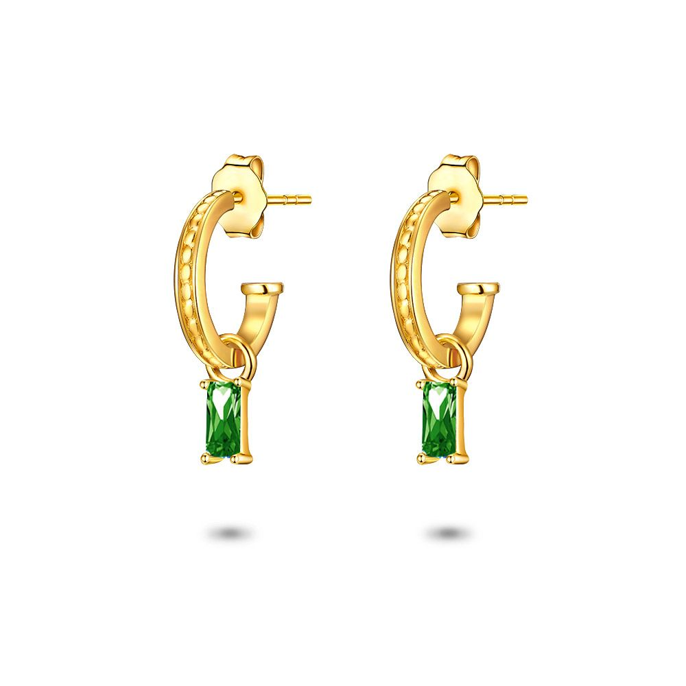 Gold Emerald Cut Hoops