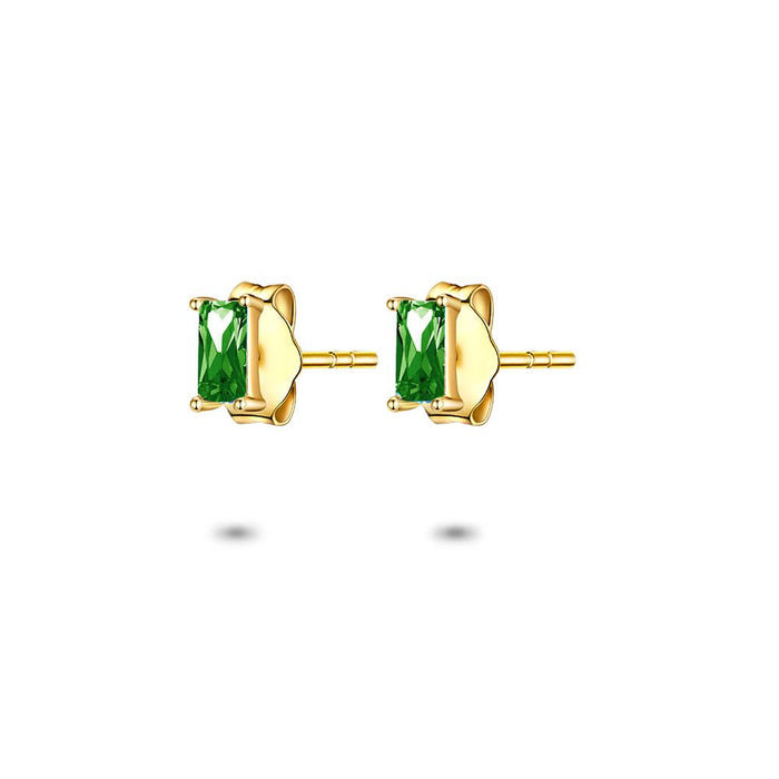Gold Emerald Cut Studs