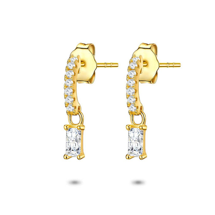 Gold Emerald Cut Half Hoops