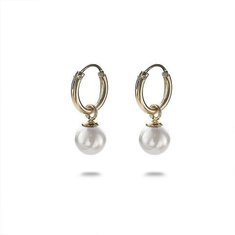 Gold Pearl Drop Hoops