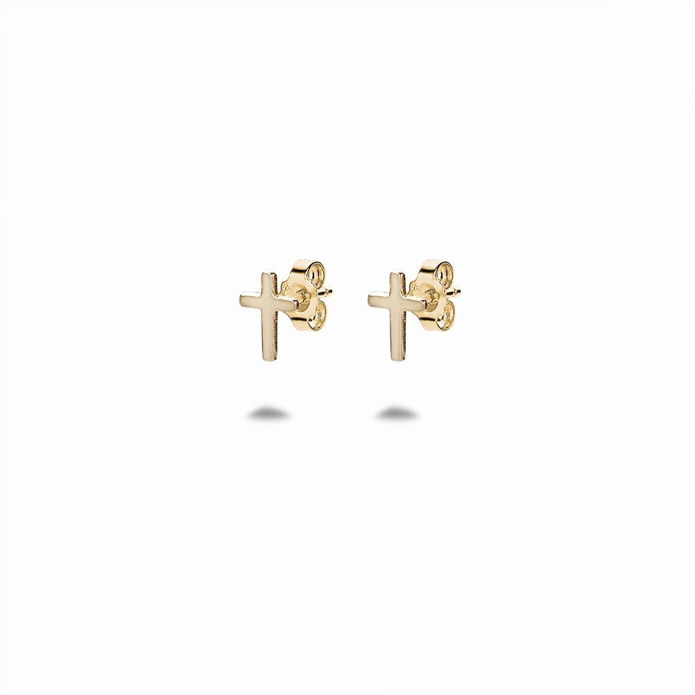 Gold Cross Studs