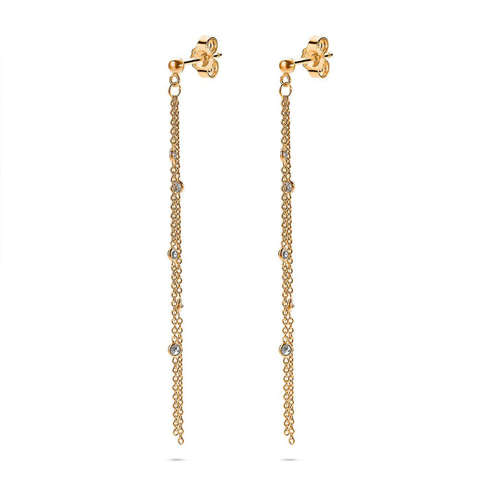 Long Gold Crystal Drop Earrings