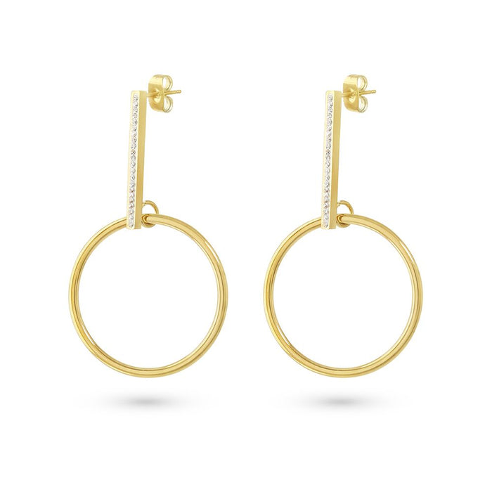 Gold Crystal Circle Drop Earrings