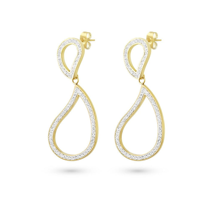 Gold Crystal Tear Drop Earrings