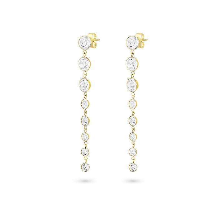 Gold Long Crystal Drop Earrings