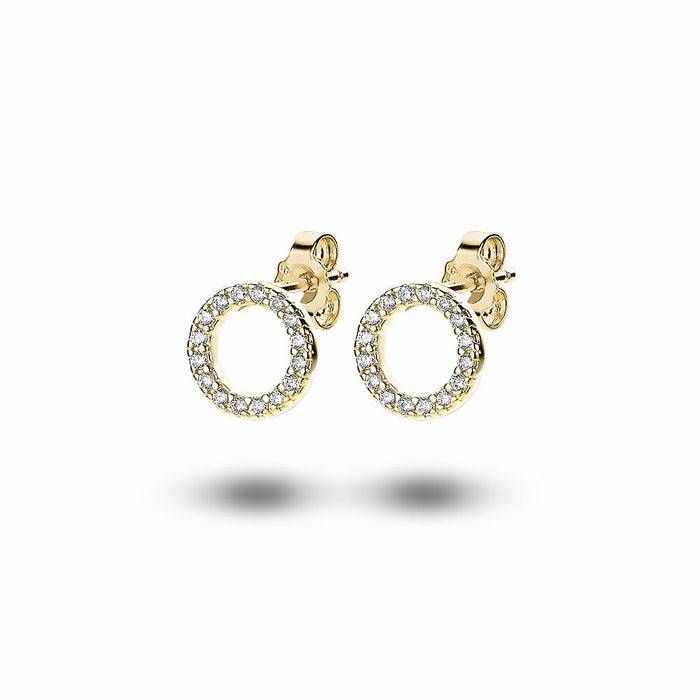 Gold Crystal Open Circle Studs