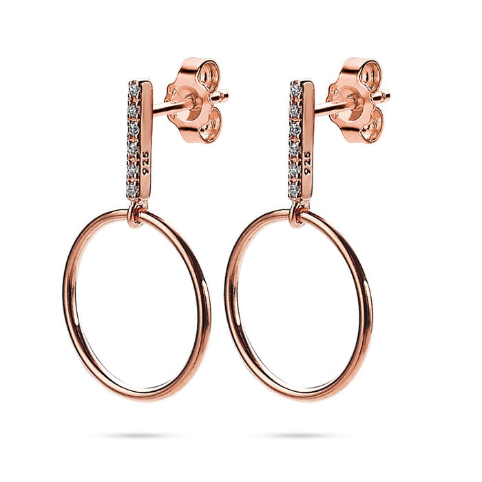 Rose Gold Crystal Bar and Circle Earrings