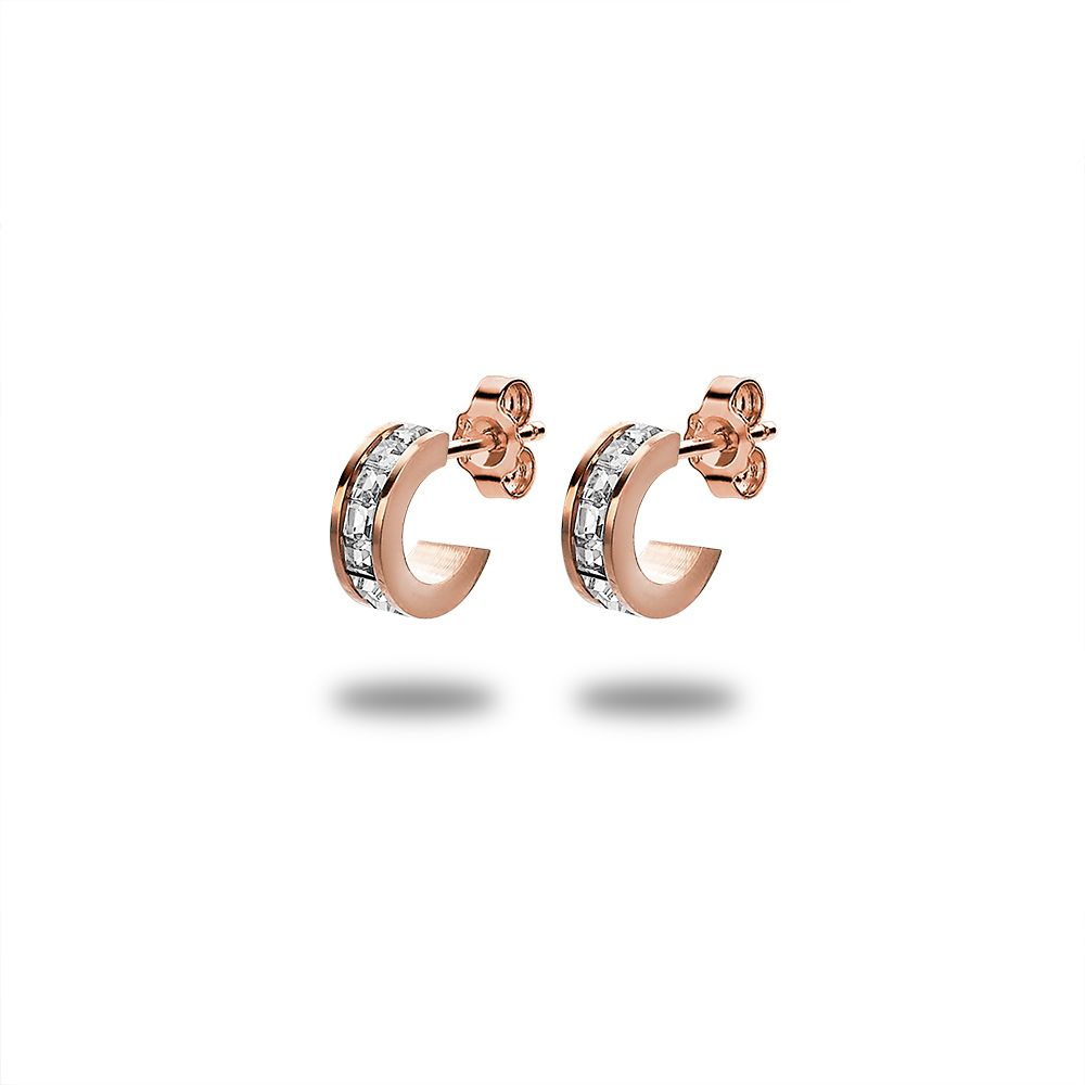 Rose Gold Tiny Crystal Hoops