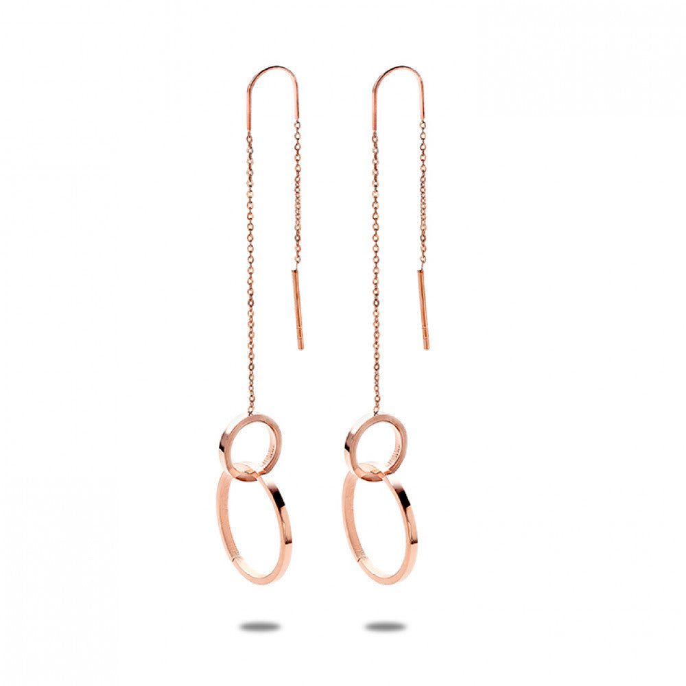 Rose Gold Pull Through Circle Earrings