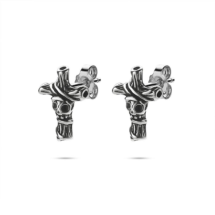Men's Skull Cross Studs