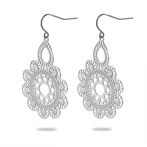 Laser Cut Flower Drop Earrings