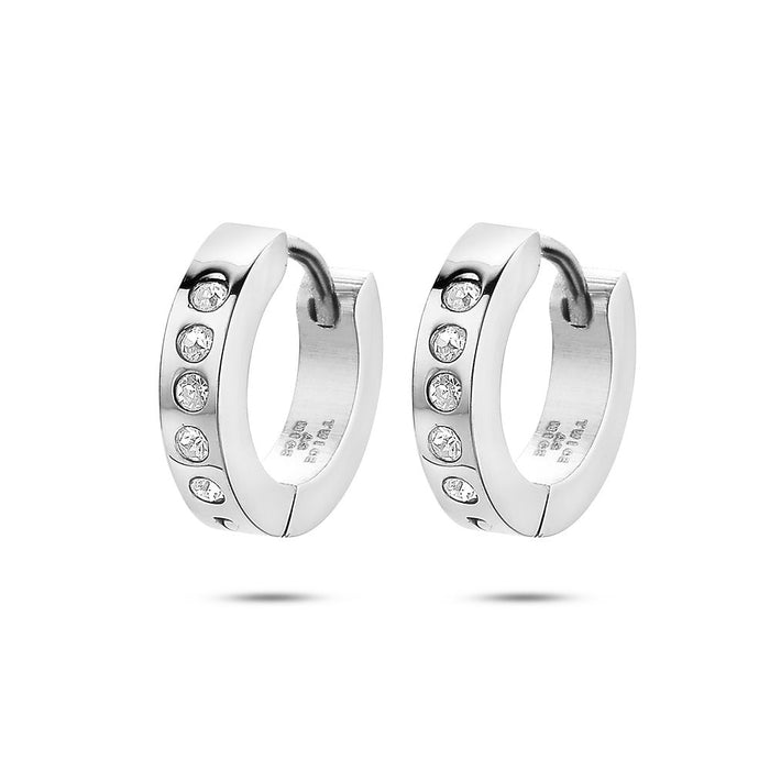 Men's Crystal Huggie Hoops