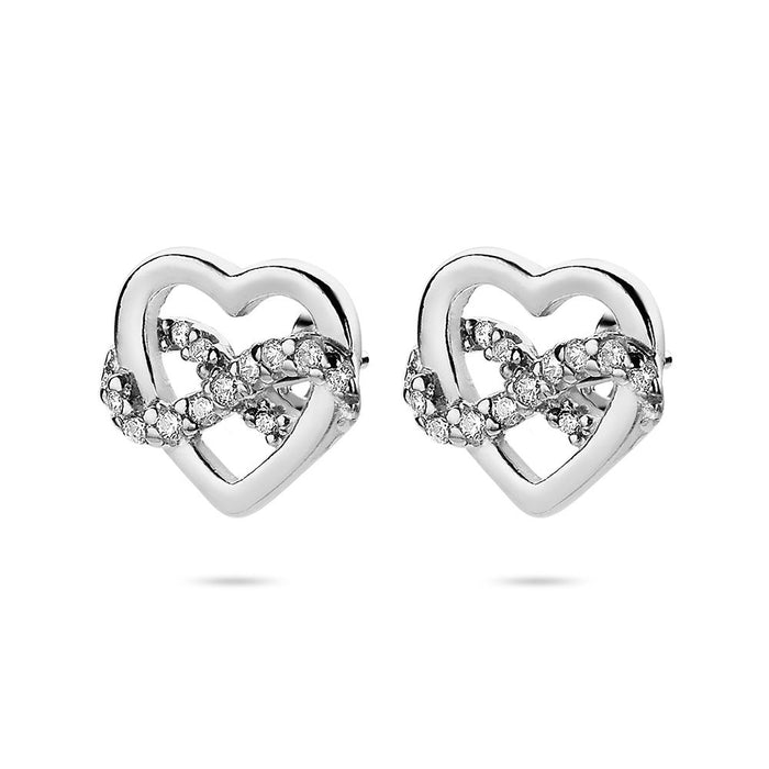 Crystal Heart Infinity Studs