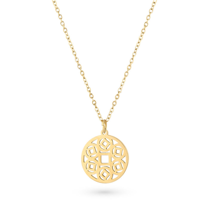 Gold Aztec Disk Necklace