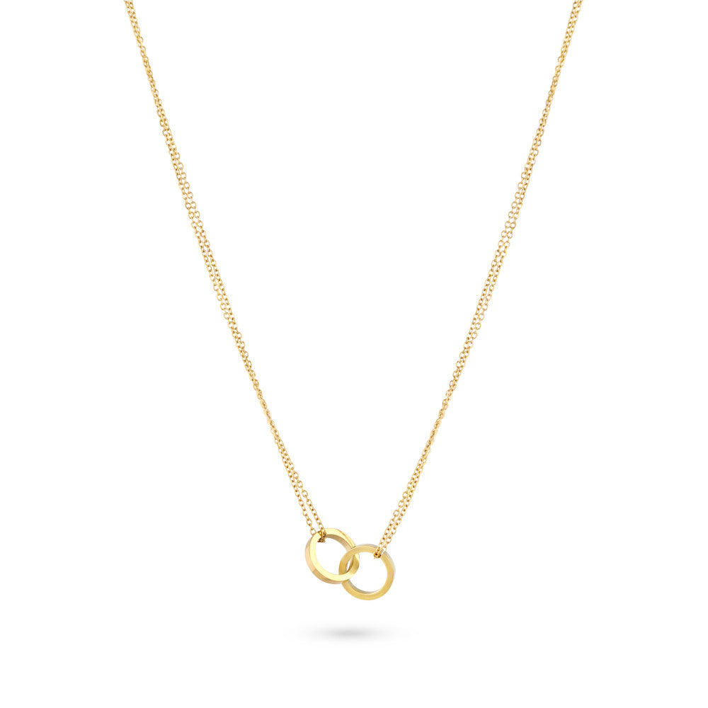 Gold Linked Circles Necklace