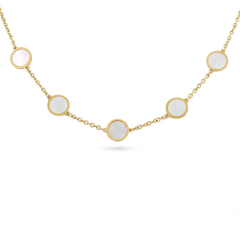 Gold Mother of Pearl Disc Necklace
