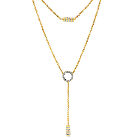 Gold Double Layer Crystal Drop Necklace