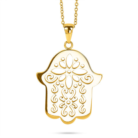 Gold Decorative Hamsa Necklace