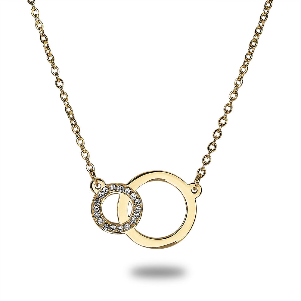 Gold Linked Circles Crystal Necklace