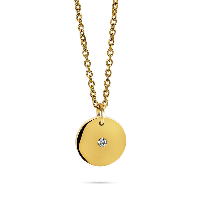 Gold Crystal Disk Necklace