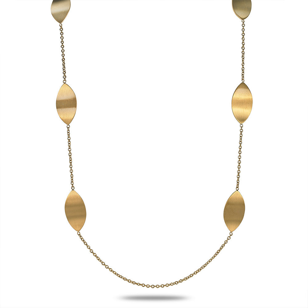 Gold Long Leaf Necklace