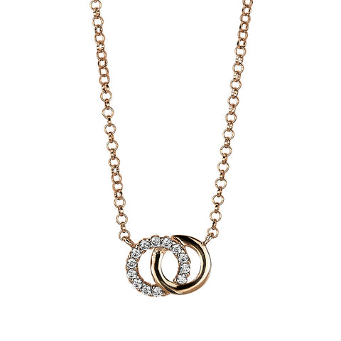 Gold Linked Circle Crystal Necklace