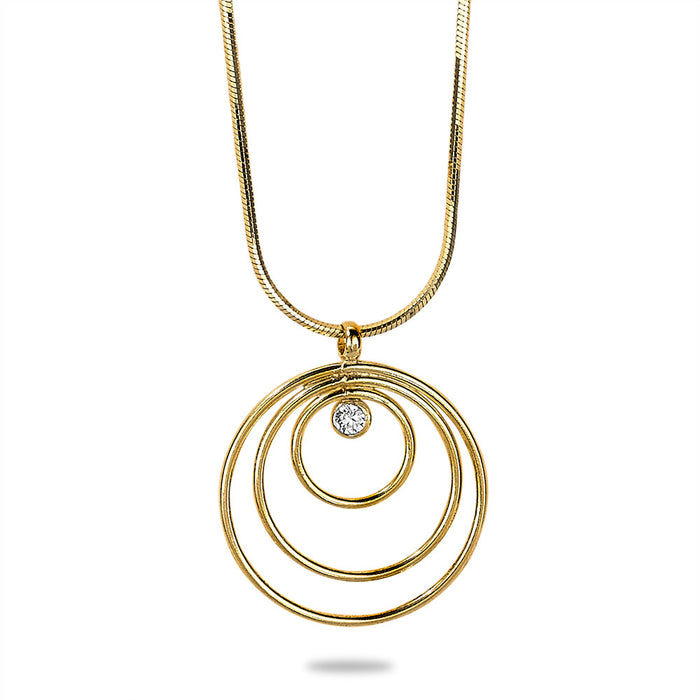 Gold Multi Circle Crystal Necklace