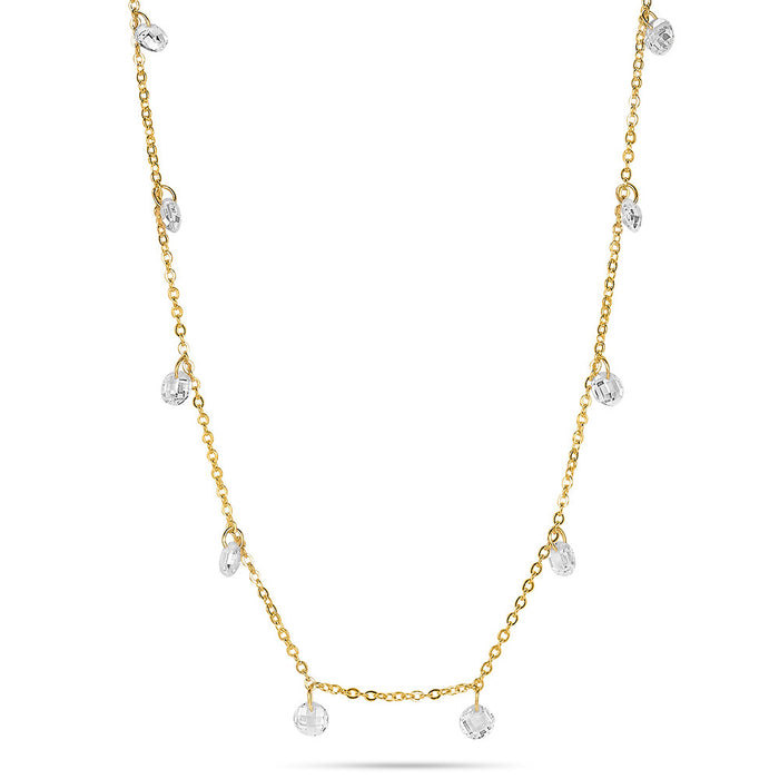 Gold Crystal Drop Necklace
