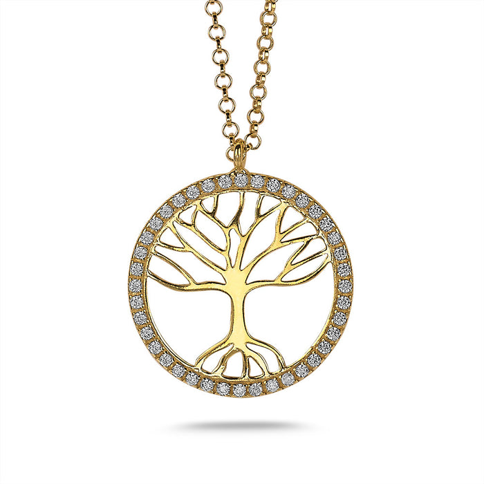 Gold Tree of Life Crystal Necklace