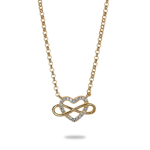 Gold Heart and Infinity Crystal Necklace