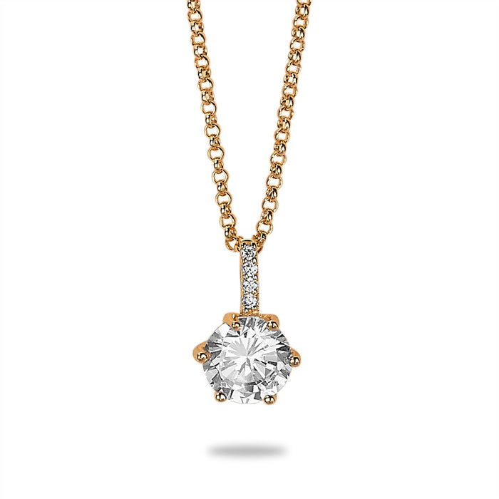 Gold Solitaire Crystal Necklace