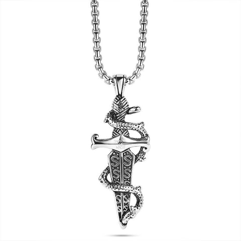 Men's Dagger and Snake Necklace