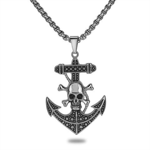 Men's Skull and Anchor Necklace
