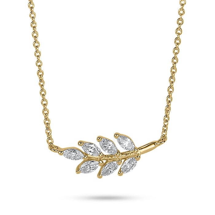 Gold Crystal Leaf Necklace