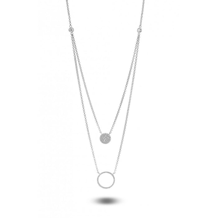 Layered Crystal Disc and Circle Necklace