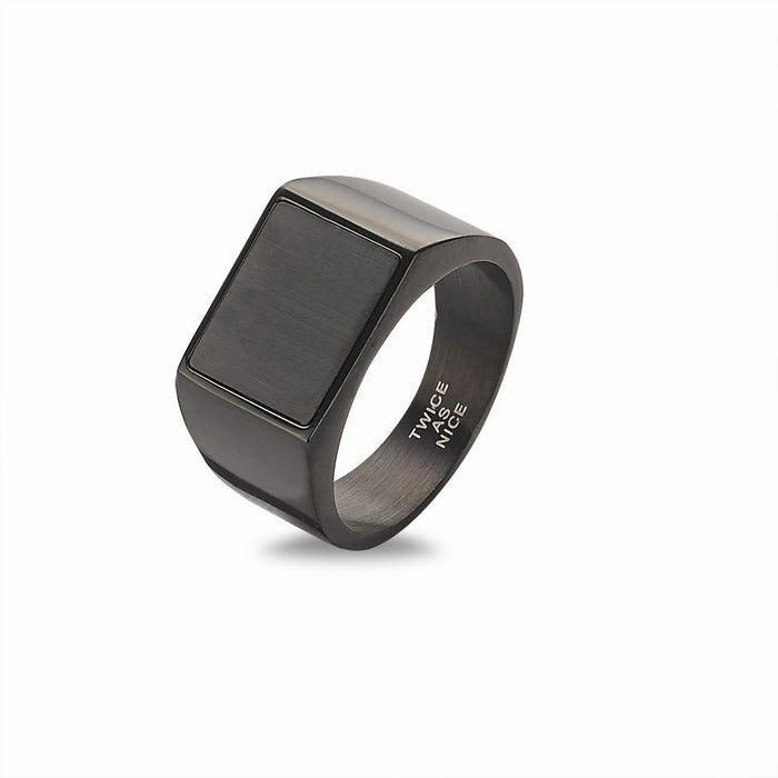 Men's Black Signet Ring