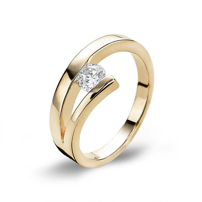 18ct Gold Plated Single Stone Ring made with Premium Zirconia