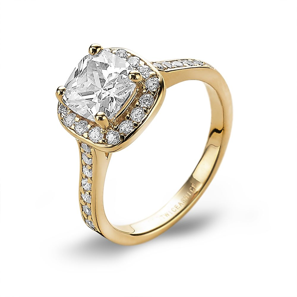 18ct Gold Plated Glamorous Cushion Cut Ring made with Premium Zirconia