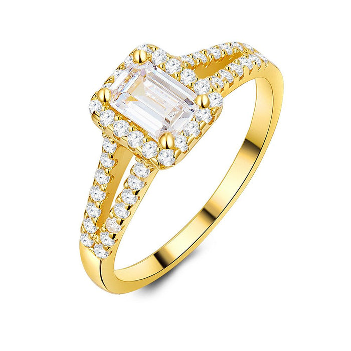 18ct Gold Plated Emerald Cut Ring made with Premium Zirconia