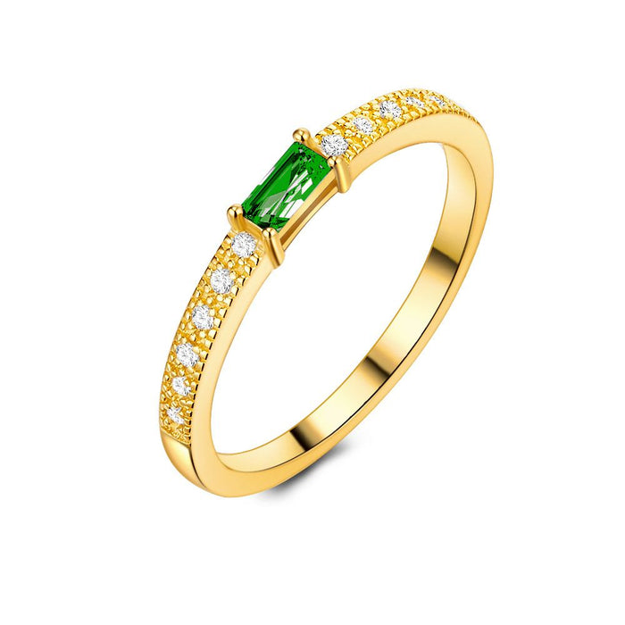 18ct Gold Plated Emerald Baguette Cut Ring made with Premium Zirconia