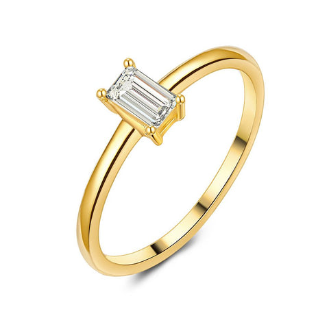 18ct Gold Plated Baguette Cut Ring made with Premium Zirconia