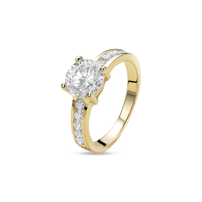 18ct Gold Plated Solitaire Ring made with Premium Zirconia