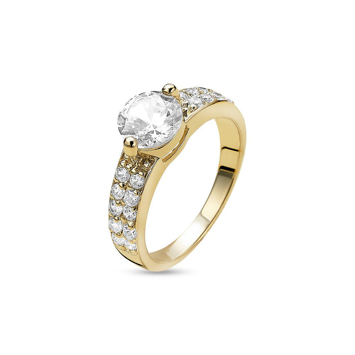 18ct Gold Plated Thick Solitaire Ring made with Premium Zirconia