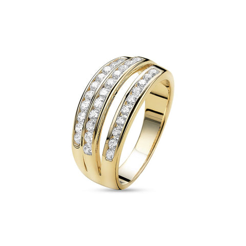 18ct Gold Plated Glamorous Ring made with Premium Zirconia