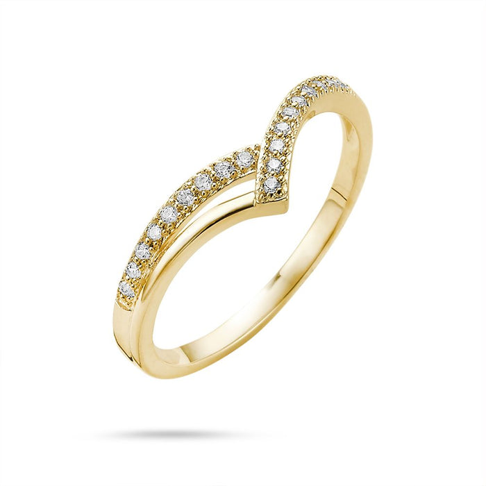 18ct Gold Plated Curved Eternity Ring made with Premium Zirconia