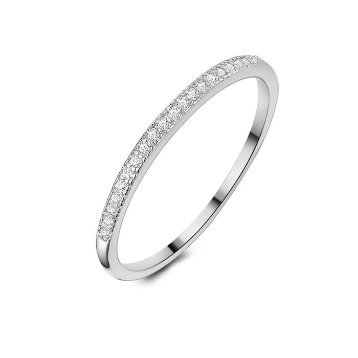 Thin Half Eternity Ring made with Premium Zirconia