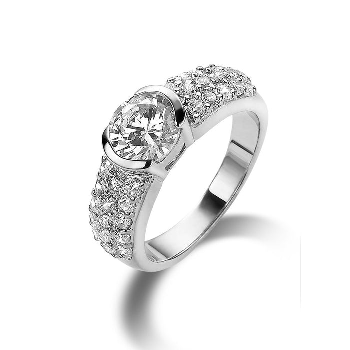 Thick Solitaire Ring made with Premium Zirconia