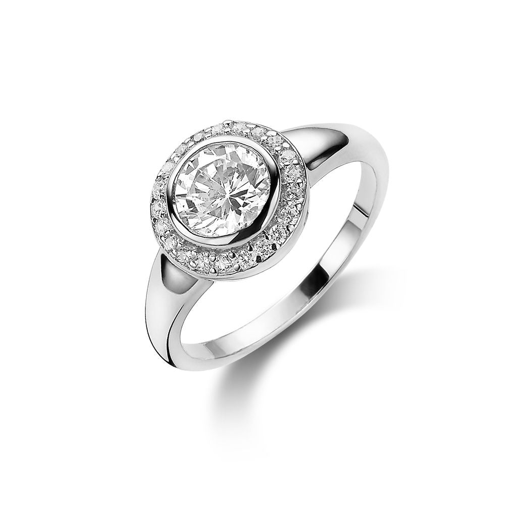 Halo Solitaire Ring made with Premium Zirconia